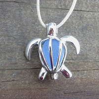 Sea Glass Turtle Locket Honu Cornflower Blue