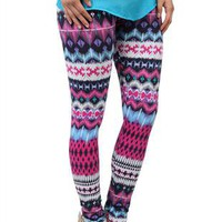 tropical floral print stretch cotton leggings - 1000046771 - debshops.com