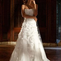 Tulle Gown with Lace Applique and 3D Flowers - David's Bridal