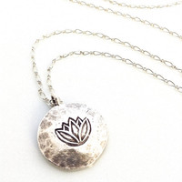 Lotus Flower Pendant, Fine Silver Pendant, Lotus Flower Necklace, Sterling Silver, Meditation, Zen Jewelry, Om, Ohm, Minimalist, Yoga