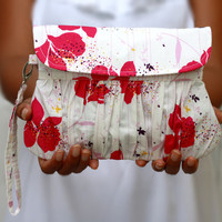 Pleated wristlet clutch white and pink floral