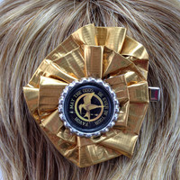 Hunger Games Mocking Jay Gold Duct Tape Hair Clip by PyrateWench