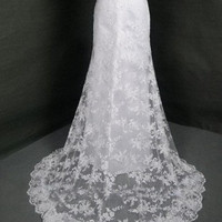 Vintage Ivory Lace Wedding Dress Bridal Gown Strapless Sweetheart A LINE with Train Dress Satin Sash Bow