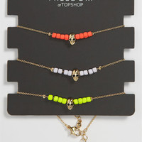Topshop Neon Skull Bracelets (Set of 3) | Nordstrom