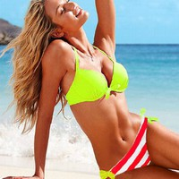 Two-Piece Separates swimwear Hit-color art romance tankini bathing suits