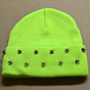 Neon Yellow Studded Beanie by UndisposedClothing on Etsy