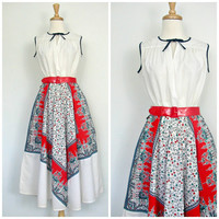 1970s Dress / full skirt dress / rockabilly party dress / gypsy dress / folk dress / womens cotton dress / small medium