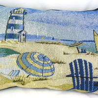Beach Scene with Lighthouse background Decorative Tapestry Pillows
