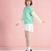 Block Sleeve Contrast Jumper Mint - THE WHITEPEPPER