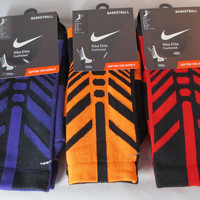 Nike Elite Crew Basketball Socks Sequalizer Red Orange Purple L 8-12 or M 6-8