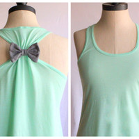 Bow Tank Top Mint  - SMALL - Limited Edition