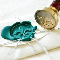 Fleur de Lys Gold Plated Wax Seal Stamp + Sealing Wax