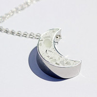 Glowing Moon Necklace - Crescent Moon, Moon Pendant, Moon Jewelry, Glow in the Dark Jewelry, Statement Necklace, Waning Moon