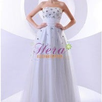 Beaded Charming Empire Strapless Floor Length White Wedding Dress