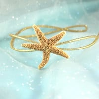 Starfish Headband, Gold Sparkle Sugar Starfish Perfect Wedding or Mermaid Hair