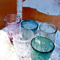 Small Handworked glass tumblers - Set of 6 for sale online from Carolina Boutique in Mill Valley