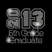 Rhinestone Transfer 2013 Fifth Grade Graduate Rhinestone Iron On DIY Bling 34089