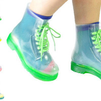 NEW WOMENS TRANSPARENT COLOURFUL LACES CUBAN HEEL RAIN COMBAT BOOTS SIZE 3-8