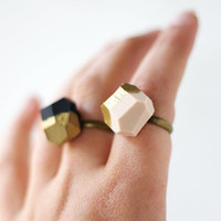 pale pink gold dipped geo ring by amerrymishap on Etsy