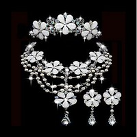 [31.99] Fashionable First-class Austrian Rhinestone & Alloy Wedding Jewelry Set,Including Necklace,Tiara And Earrings - Dressilyme.com