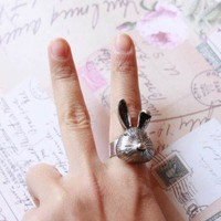 Follow the Silver Rabbit Adjustable Rhinestone Ring