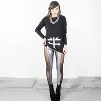 Metallic SIde Mesh Panel Leggings -  MADE To ORDER
