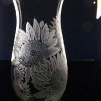 sunflower hurricane vase , clear glass vase, hand engraved , mother&#x27;s day , gift ideas