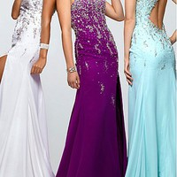 [181.99] Sexy Chiffon Princess One Shoulder Beaded Top Floor Length Slit Prom Dress - Dressilyme.com
