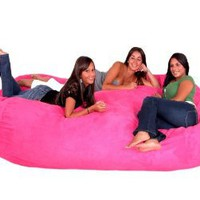 8-feet Xx-large Hot Pink Cozy Sac Micro Suede Bean Bag Chair