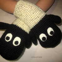 Funny Chunky Crochet Gloves Mittens Animal Puppet by 2HandMade