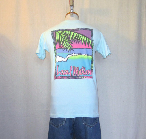 Vintage 80s hawaii surf graphic local from for Hawaiian graphic t shirts