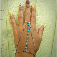 Turquoise & Feather Silver Chain Slave Bracelet Body Jewelry