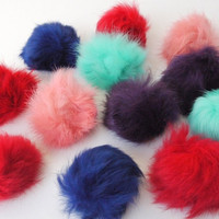 Fur Pom Poms Bright Colored Pom Poms Pinks by sweetllamasupplies