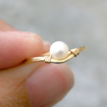 1 Pearl Above Knuckle Ring Gold Brass Adjustable Thin Delicate Stacking Ring