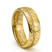 """The Lord of the Rings"" Tungsten Carbide Engraved Yellow Gold Ring"