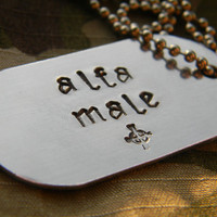 Alfa male  aluminum dog tag with ball chain