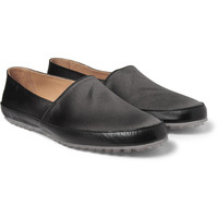 Maison Martin MargielaSatin and Leather Slip-On Shoes|MR PORTER