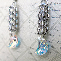 Swarovski Crystal Crescent Moon Chainmaille Earrings - Crystal Crescent Moon Dangle Earrings