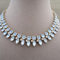 Vintage Frosted Blue Rhinestone Choker Necklace