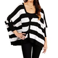 SALE-Black/White Striped Oversize Cardigan