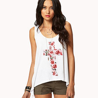 Shredded Floral Cross Tank