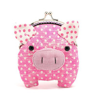 Little hot pink piggy clutch purse by misala on Etsy