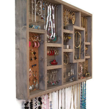 Wood Wall Art Jewelry Organize Display Case by barbwireandbarnwood