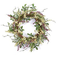 20 in. Queen Anne Lace and Wildflower Plastic Wreath | www.hayneedle.com