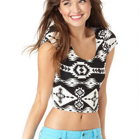 Tribal Print Crew Neck Short-Sleeve