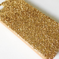 iPhone Case 4/4S - Lady Gaga Inspired Gold Diamond Dust Covered iPhone 4 Case