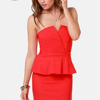 LULUS Exclusive Forget Me Notch Strapless Red Dress