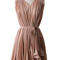 Peach Pleated Dress