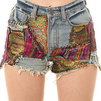 UNIF Shorts Hendrix Patchwork in Black