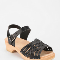 Swedish Hasbeens Braided Leather Platform Sandal